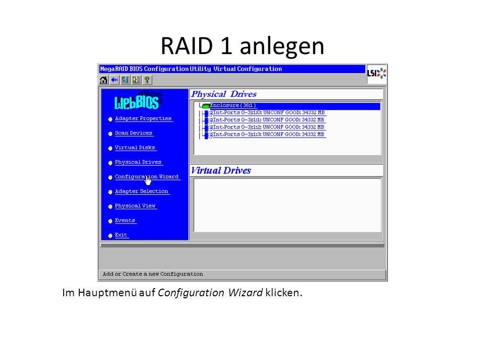 RAID 0,5,6 anlegen Jetzt müssen für RAID 0 mindestens 2, für RAID 5 mindestens 3 und für RAID 6 mindestens 4 Festplatten markiert werden.