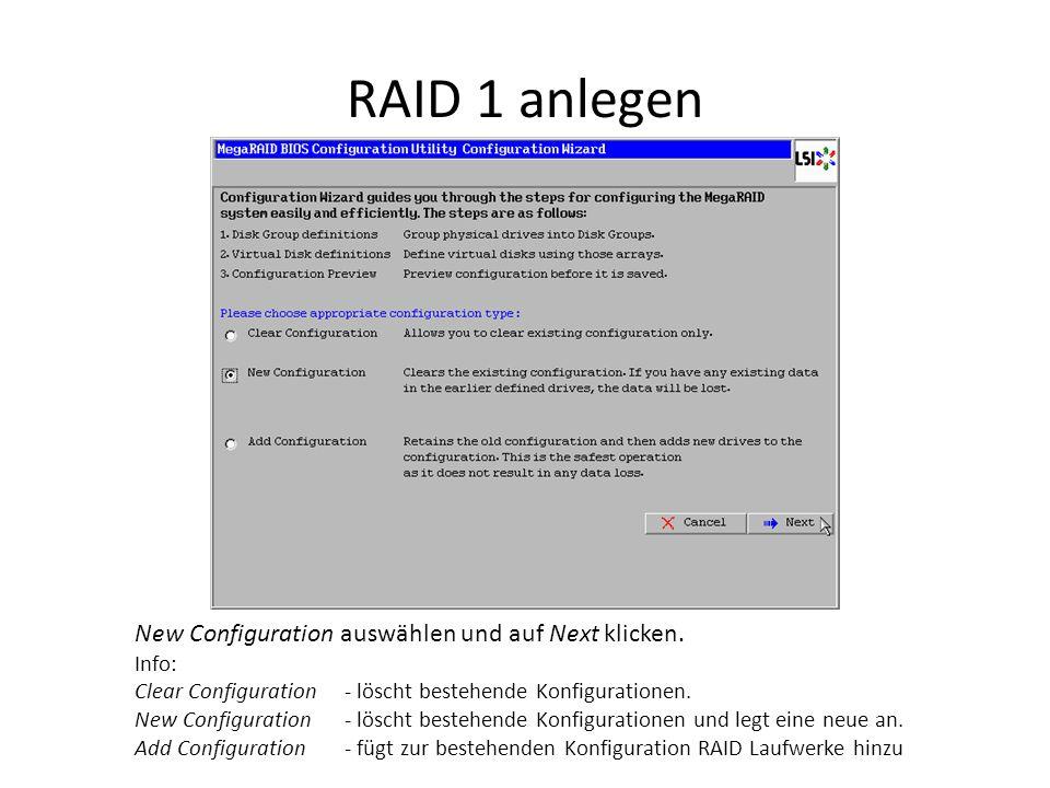 RAID 1 anlegen Da New Configuration ausgewählt wurde, muss man hier das Löschen der bestehenden Konfiguration bestätigen.