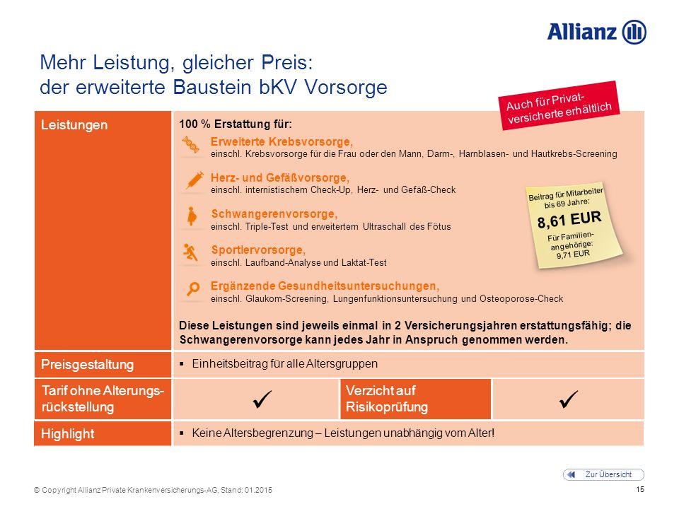15 © Copyright Allianz Private Krankenversicherungs-AG, Stand: 01.2015 Zur Übersicht Tarif ohne Alterungs- rückstellung Verzicht auf Risikoprüfung Meh
