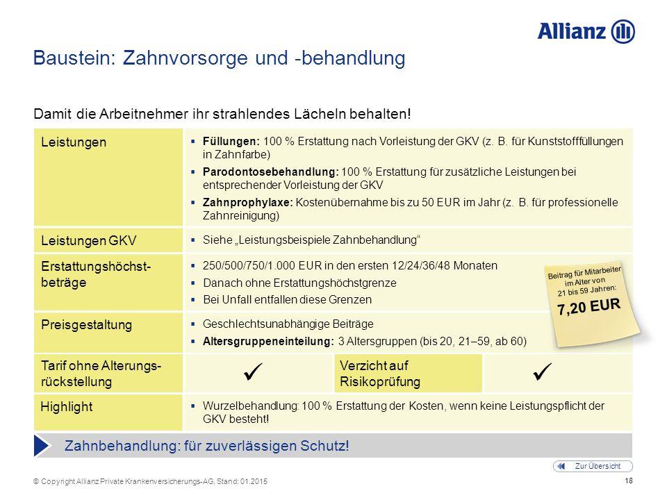 18 © Copyright Allianz Private Krankenversicherungs-AG, Stand: 01.2015 Tarif ohne Alterungs- rückstellung Verzicht auf Risikoprüfung Baustein: Zahnvor