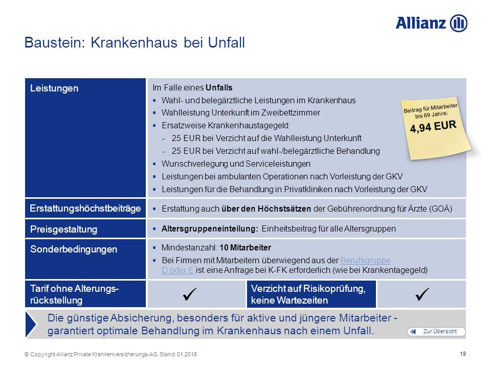19 © Copyright Allianz Private Krankenversicherungs-AG, Stand: 01.2015  Erstattung auch über den Höchstsätzen der Gebührenordnung für Ärzte (GOÄ) Bau