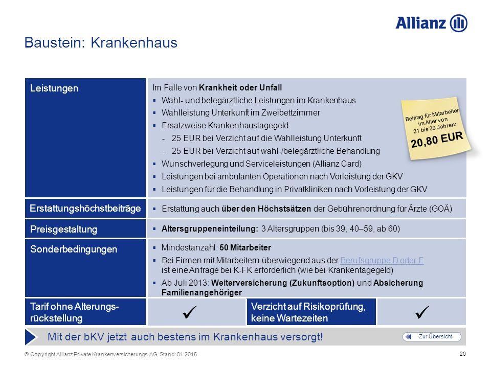 20 © Copyright Allianz Private Krankenversicherungs-AG, Stand: 01.2015 Verzicht auf Risikoprüfung, keine Wartezeiten Tarif ohne Alterungs- rückstellun