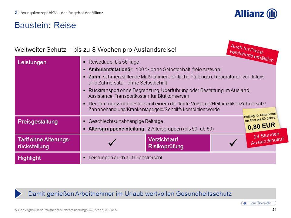 24 © Copyright Allianz Private Krankenversicherungs-AG, Stand: 01.2015 Tarif ohne Alterungs- rückstellung Verzicht auf Risikoprüfung Baustein: Reise W