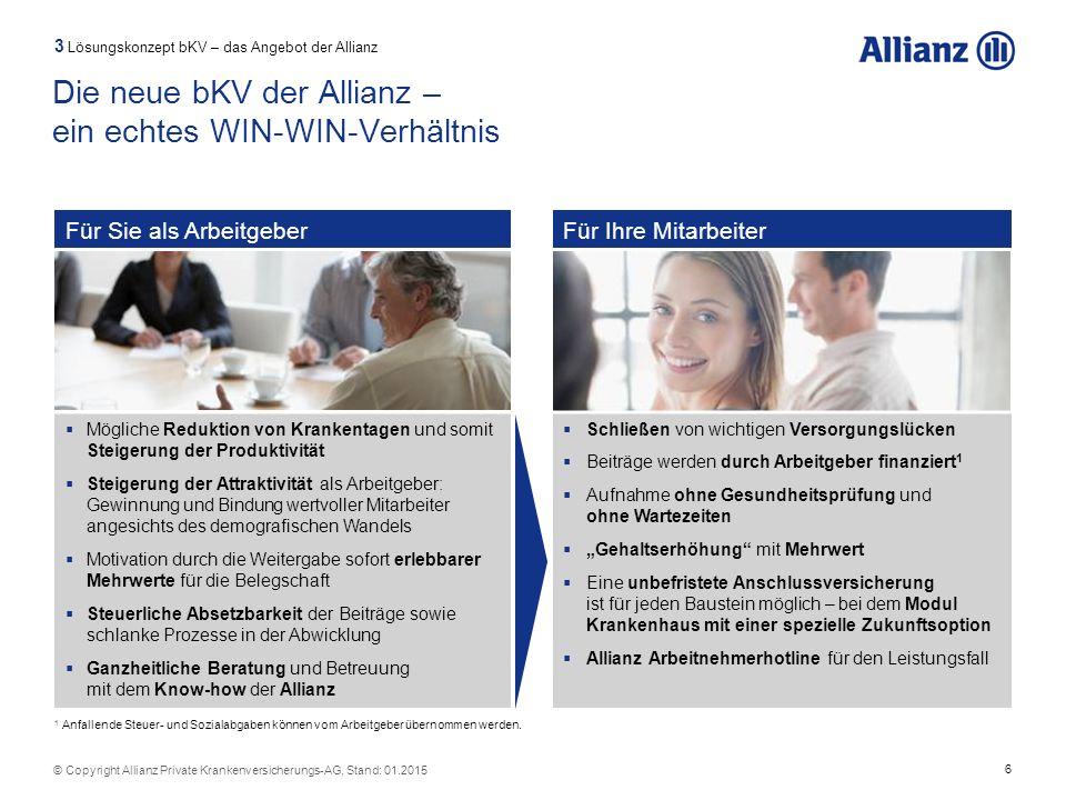 6 © Copyright Allianz Private Krankenversicherungs-AG, Stand: 01.2015 Für Sie als ArbeitgeberFür Ihre Mitarbeiter  Mögliche Reduktion von Krankentage