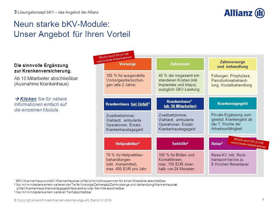7 © Copyright Allianz Private Krankenversicherungs-AG, Stand: 01.2015 Heilpraktiker 2 70 % für Heilpraktiker- behandlungen (inkl. Arzneimittel), max.