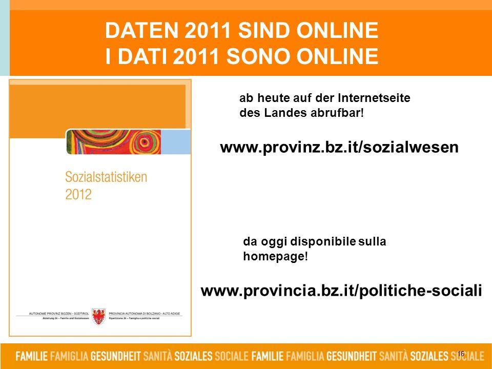 16 www.provinz.bz.it/sozialwesen www.provincia.bz.it/politiche-sociali DATEN 2011 SIND ONLINE I DATI 2011 SONO ONLINE ab heute auf der Internetseite des Landes abrufbar.