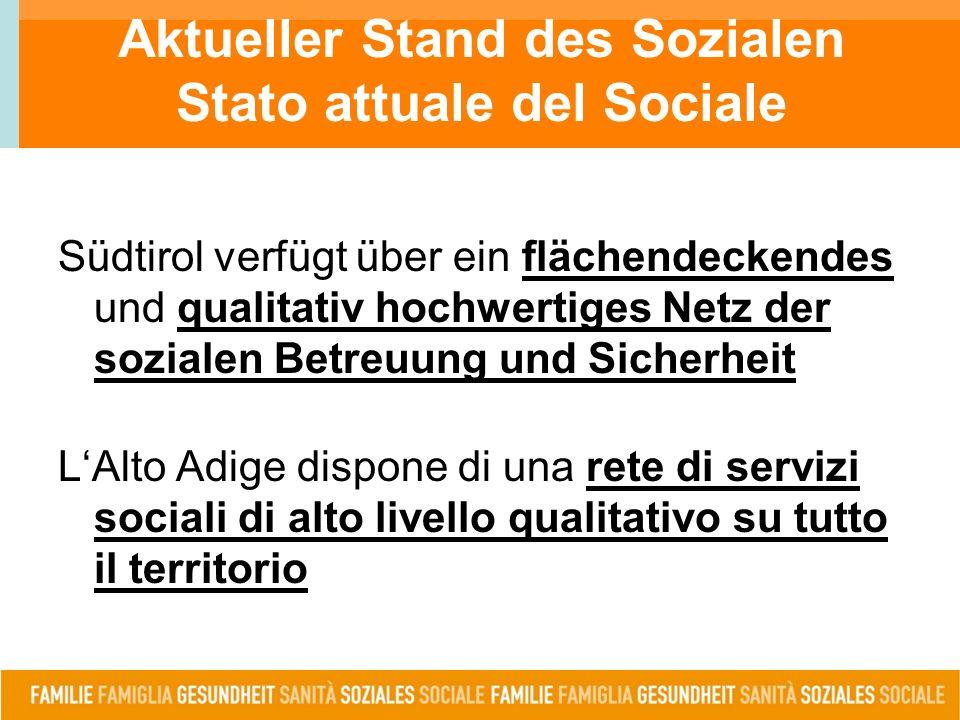 Südtirol verfügt über ein flächendeckendes und qualitativ hochwertiges Netz der sozialen Betreuung und Sicherheit L'Alto Adige dispone di una rete di servizi sociali di alto livello qualitativo su tutto il territorio Aktueller Stand des Sozialen Stato attuale del Sociale