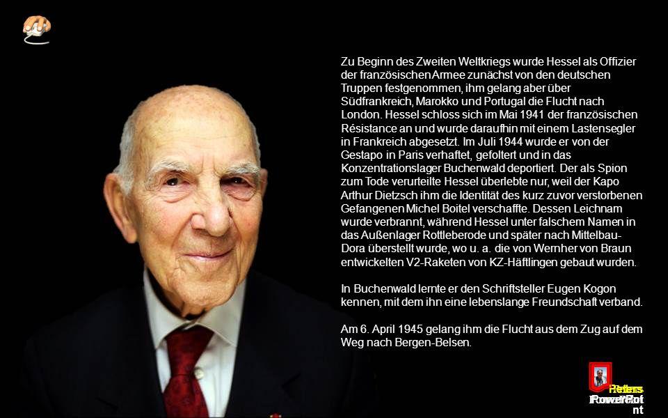 Peters PowerPoi nt Große Aufmerksamkeit erregte 2010 Hessels Essay Empört Euch!, in dem er harsche Kritik an verschiedenen aktuellen politischen Entwicklungen übt und zum Widerstand aufruft.