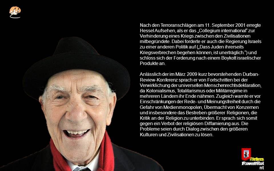 Peters PowerPoi nt Nach Ende des Zweiten Weltkrieges wurde Hessel 1946 Büroleiter des UN-Vize-Generalsekretärs Henri Laugier.