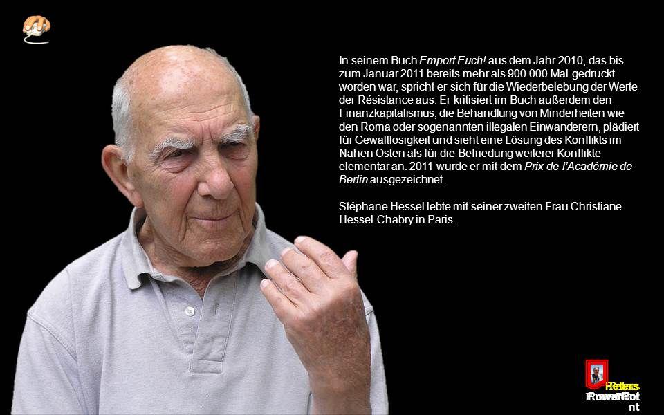 """Peters PowerPoi nt Nach den Terroranschlägen am 11. September 2001 erregte Hessel Aufsehen, als er das """"Collegium international"""" zur Verhinderung eine"""