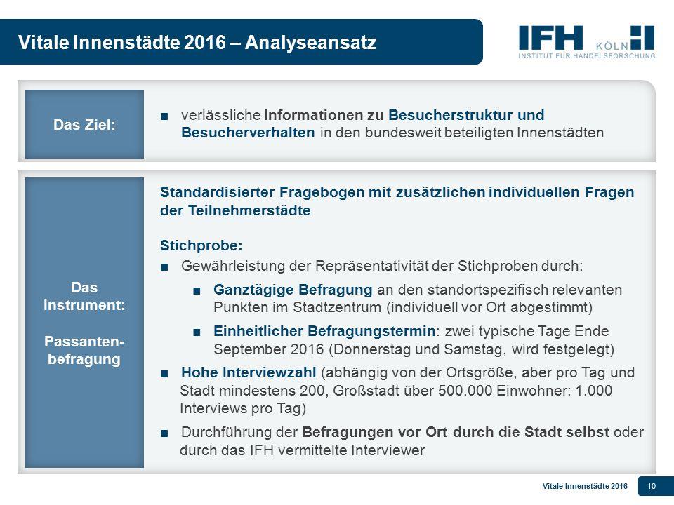 Vitale Innenstädte 201610 Vitale Innenstädte 2016 – Analyseansatz Standardisierter Fragebogen mit zusätzlichen individuellen Fragen der Teilnehmerstäd