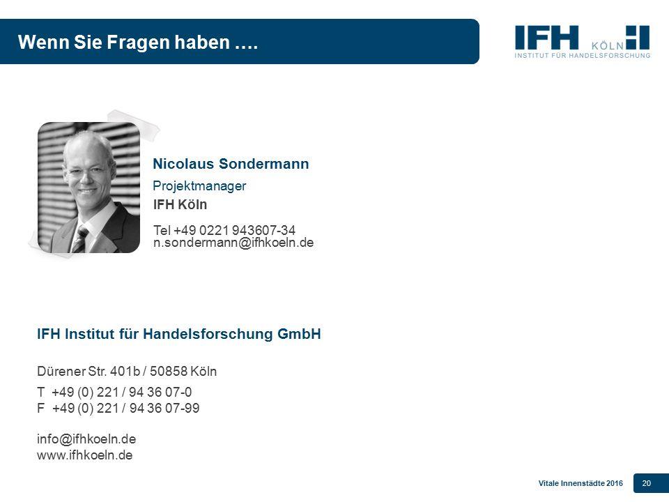 Vitale Innenstädte 201620 IFH Institut für Handelsforschung GmbH Dürener Str. 401b / 50858 Köln T +49 (0) 221 / 94 36 07-0 F +49 (0) 221 / 94 36 07-99