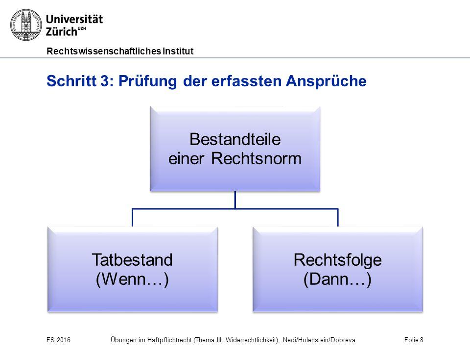 Rechtswissenschaftliches Institut FS 2016 Übungen im Haftpflichtrecht (Thema III: Widerrechtlichkeit), Nedi/Holenstein/Dobreva Folie 8 Schritt 3: Prüf