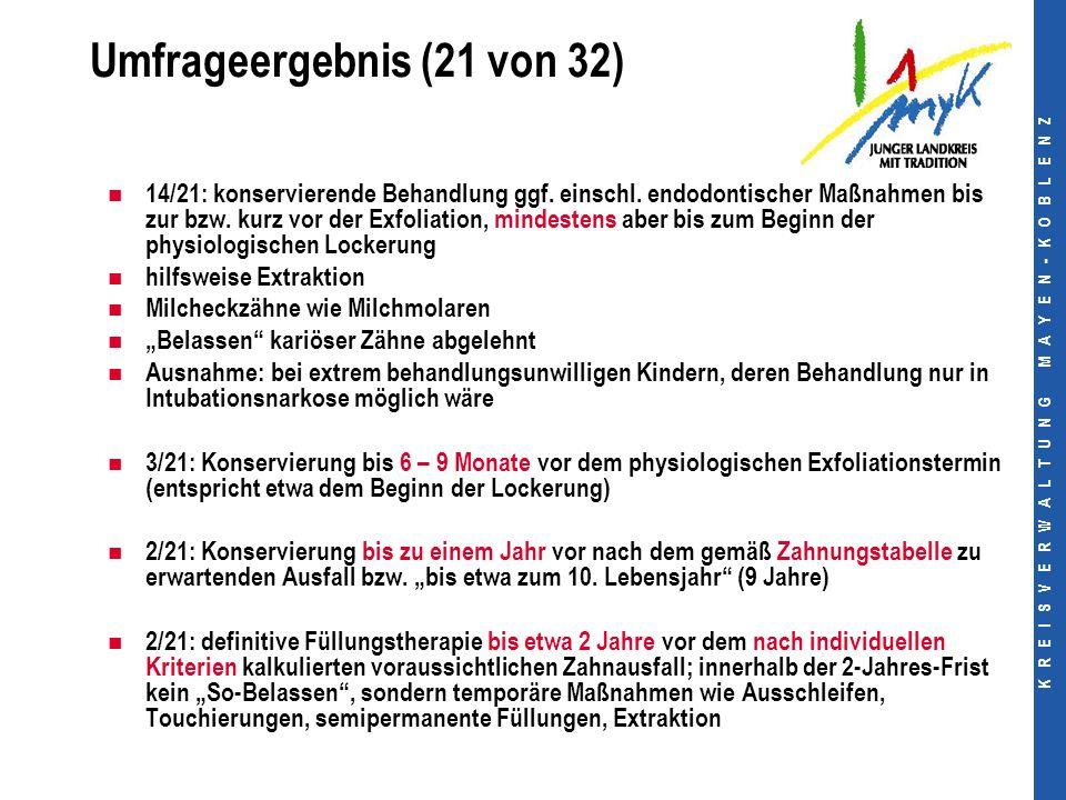 K R E I S V E R W A L T U N G M A Y E N - K O B L E N Z Umfrageergebnis (21 von 32) 14/21: konservierende Behandlung ggf.