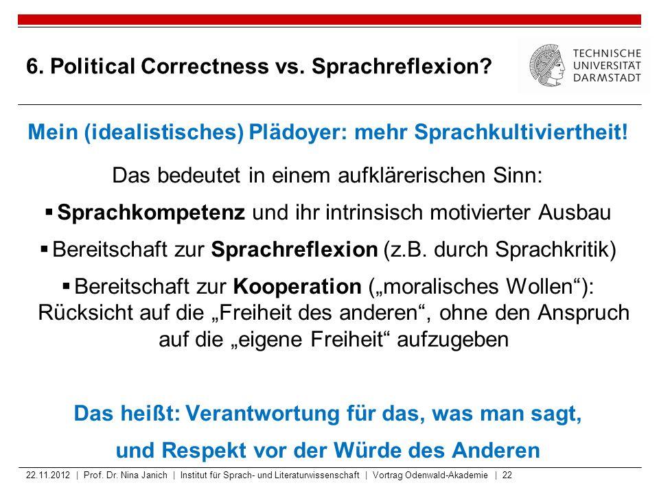 6. Political Correctness vs. Sprachreflexion? Mein (idealistisches) Plädoyer: mehr Sprachkultiviertheit! Das bedeutet in einem aufklärerischen Sinn: 