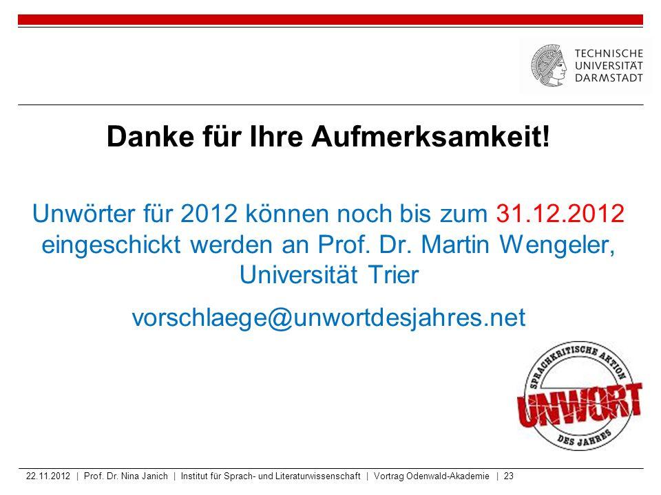 Danke für Ihre Aufmerksamkeit! Unwörter für 2012 können noch bis zum 31.12.2012 eingeschickt werden an Prof. Dr. Martin Wengeler, Universität Trier vo