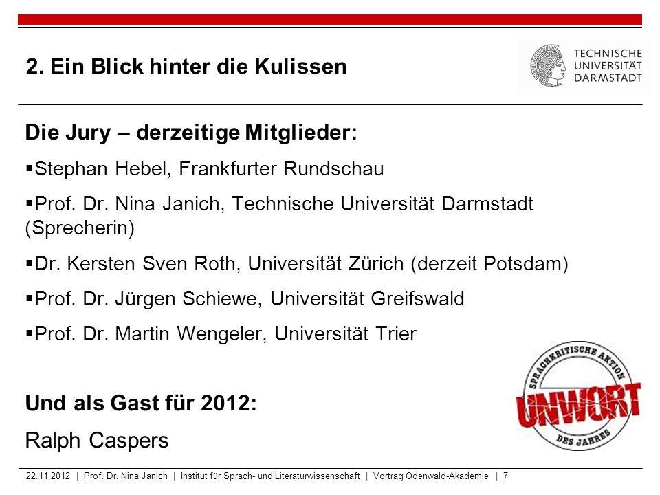 2. Ein Blick hinter die Kulissen Die Jury – derzeitige Mitglieder:  Stephan Hebel, Frankfurter Rundschau  Prof. Dr. Nina Janich, Technische Universi