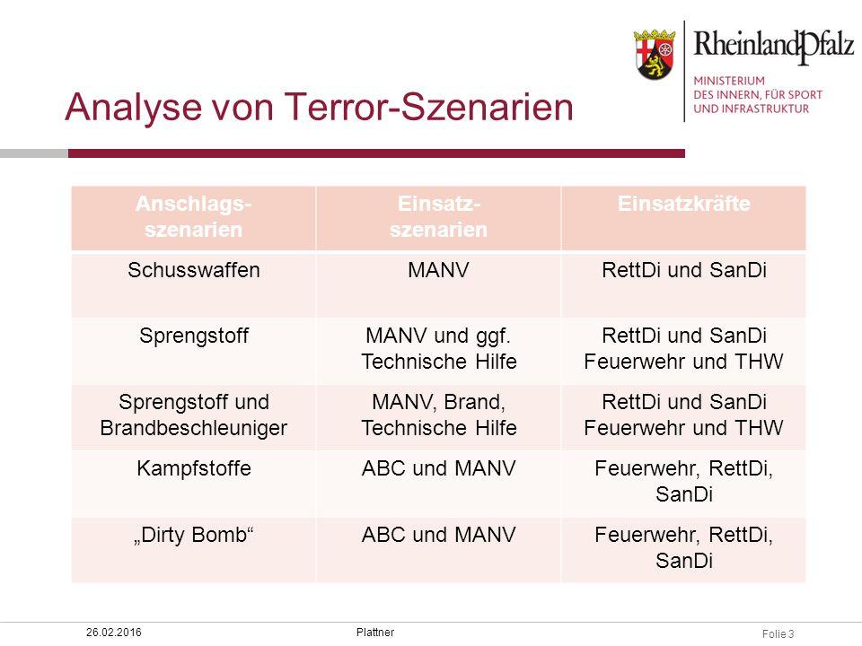 Folie 3 Plattner26.02.2016 Analyse von Terror-Szenarien Anschlags- szenarien Einsatz- szenarien Einsatzkräfte SchusswaffenMANVRettDi und SanDi Sprengs