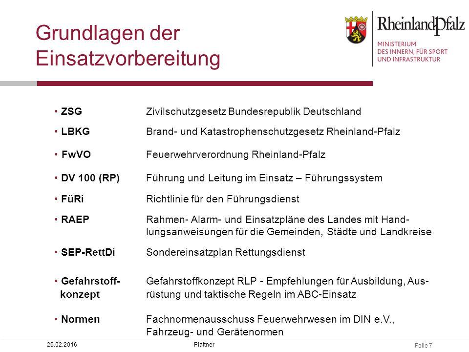 Folie 7 Plattner26.02.2016 ZSGZivilschutzgesetz Bundesrepublik Deutschland LBKGBrand- und Katastrophenschutzgesetz Rheinland-Pfalz FwVOFeuerwehrverord