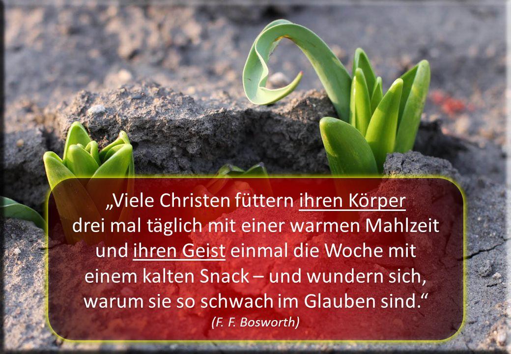 """""""Viele Christen füttern ihren Körper drei mal täglich mit einer warmen Mahlzeit und ihren Geist einmal die Woche mit einem kalten Snack – und wundern sich, warum sie so schwach im Glauben sind. (F."""