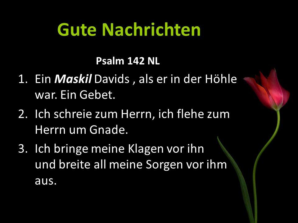 Gute Nachrichten Psalm 142 NL 1.Ein Maskil Davids, als er in der Höhle war. Ein Gebet. 2.Ich schreie zum Herrn, ich flehe zum Herrn um Gnade. 3.Ich br