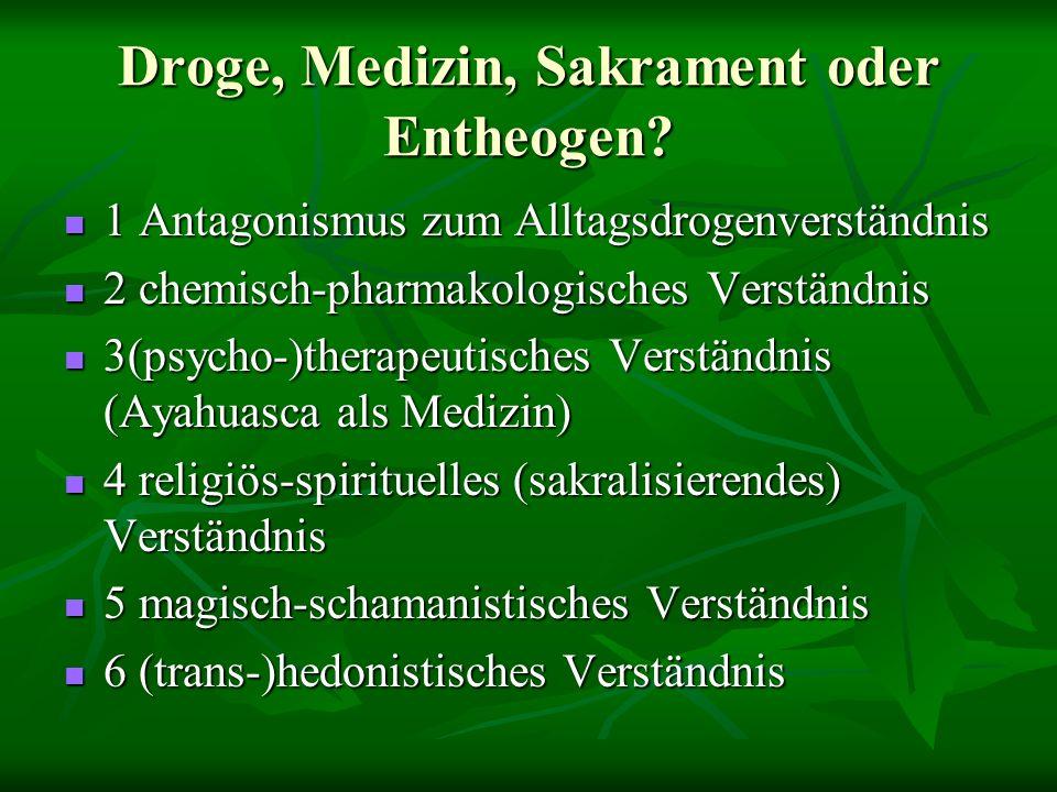Droge, Medizin, Sakrament oder Entheogen.