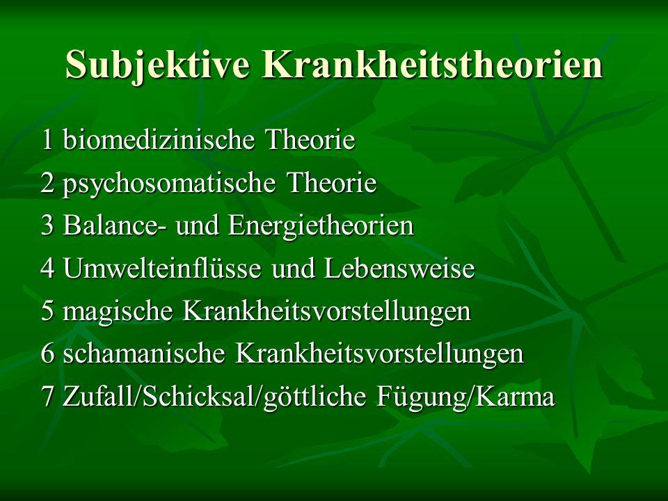 Subjektive Krankheitstheorien 1 biomedizinische Theorie 2 psychosomatische Theorie 3 Balance- und Energietheorien 4 Umwelteinflüsse und Lebensweise 5 magische Krankheitsvorstellungen 6 schamanische Krankheitsvorstellungen 7 Zufall/Schicksal/göttliche Fügung/Karma