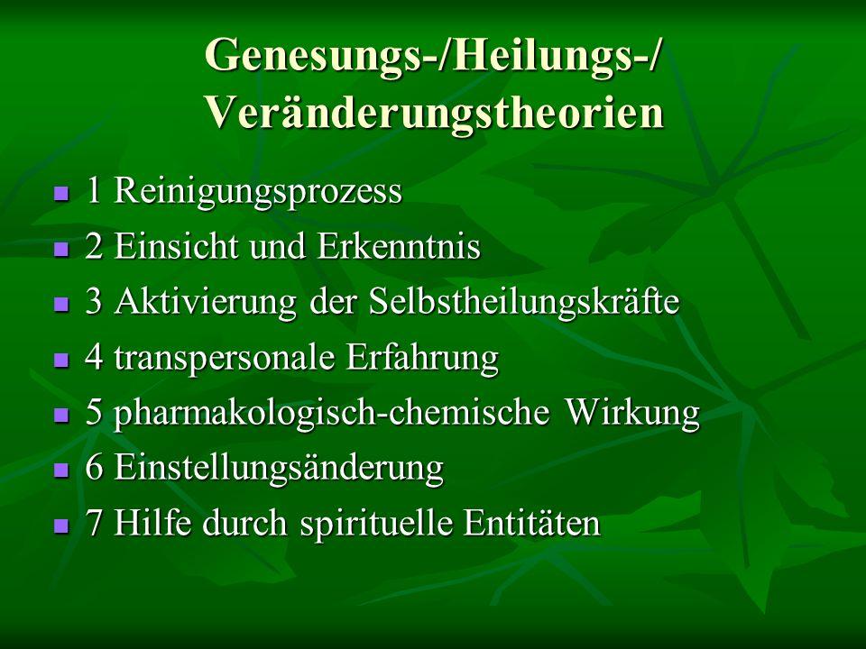 Genesungs-/Heilungs-/ Veränderungstheorien 1 Reinigungsprozess 1 Reinigungsprozess 2 Einsicht und Erkenntnis 2 Einsicht und Erkenntnis 3 Aktivierung der Selbstheilungskräfte 3 Aktivierung der Selbstheilungskräfte 4 transpersonale Erfahrung 4 transpersonale Erfahrung 5 pharmakologisch-chemische Wirkung 5 pharmakologisch-chemische Wirkung 6 Einstellungsänderung 6 Einstellungsänderung 7 Hilfe durch spirituelle Entitäten 7 Hilfe durch spirituelle Entitäten