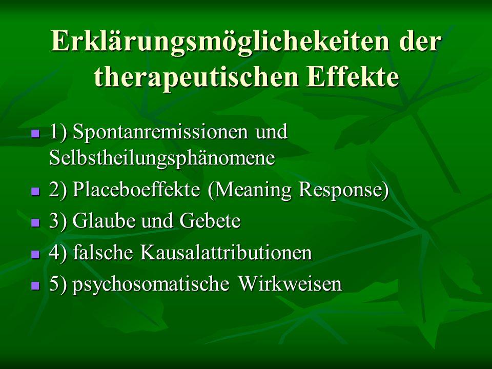 Erklärungsmöglichekeiten der therapeutischen Effekte 1) Spontanremissionen und Selbstheilungsphänomene 1) Spontanremissionen und Selbstheilungsphänomene 2) Placeboeffekte (Meaning Response) 2) Placeboeffekte (Meaning Response) 3) Glaube und Gebete 3) Glaube und Gebete 4) falsche Kausalattributionen 4) falsche Kausalattributionen 5) psychosomatische Wirkweisen 5) psychosomatische Wirkweisen