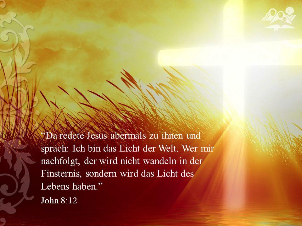Da redete Jesus abermals zu ihnen und sprach: Ich bin das Licht der Welt.