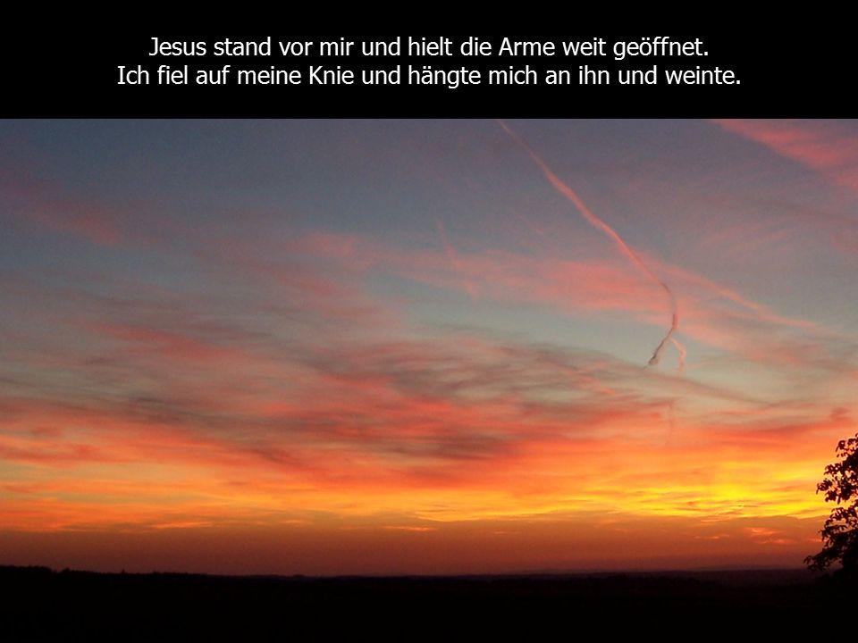 Jesus stand vor mir und hielt die Arme weit geöffnet. Ich fiel auf meine Knie und hängte mich an ihn und weinte.