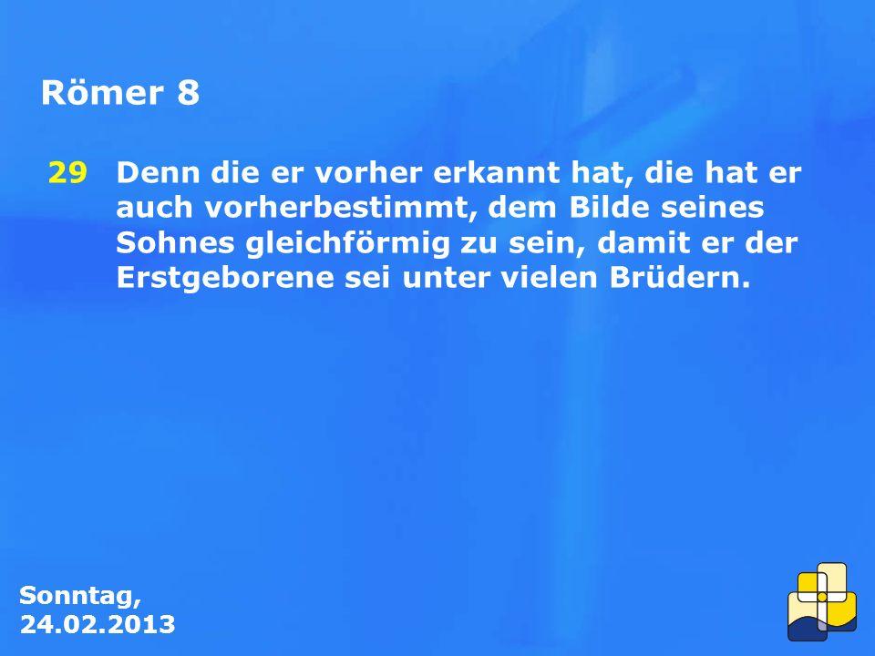 Sonntag, 24.02.2013 Römer 8 Denn die er vorher erkannt hat, die hat er auch vorherbestimmt, dem Bilde seines Sohnes gleichförmig zu sein, damit er der Erstgeborene sei unter vielen Brüdern.