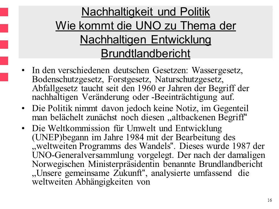 16 Nachhaltigkeit und Politik Wie kommt die UNO zu Thema der Nachhaltigen Entwicklung Brundtlandbericht In den verschiedenen deutschen Gesetzen: Wassergesetz, Bodenschutzgesetz, Forstgesetz, Naturschutzgesetz, Abfallgesetz taucht seit den 1960 er Jahren der Begriff der nachhaltigen Veränderung oder -Beeinträchtigung auf.
