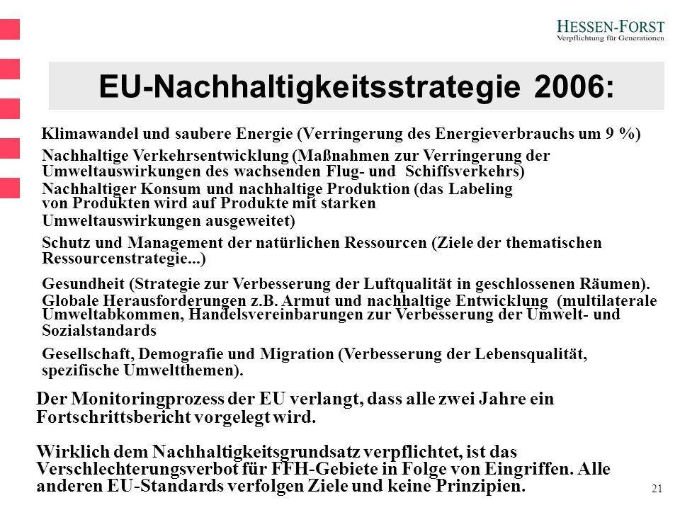 21 EU-Nachhaltigkeitsstrategie 2006: Klimawandel und saubere Energie (Verringerung des Energieverbrauchs um 9 %) Nachhaltige Verkehrsentwicklung (Maßnahmen zur Verringerung der Umweltauswirkungen des wachsenden Flug- und Schiffsverkehrs) Nachhaltiger Konsum und nachhaltige Produktion (das Labeling von Produkten wird auf Produkte mit starken Umweltauswirkungen ausgeweitet) Schutz und Management der natürlichen Ressourcen (Ziele der thematischen Ressourcenstrategie...) Gesundheit (Strategie zur Verbesserung der Luftqualität in geschlossenen Räumen).