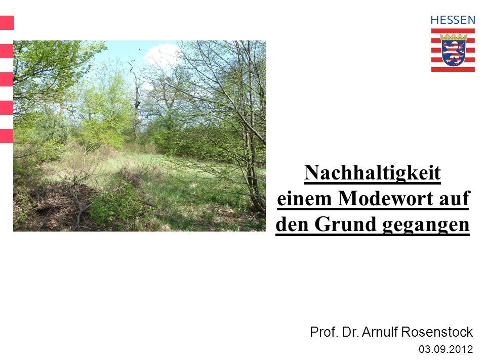 Nachhaltigkeit einem Modewort auf den Grund gegangen Prof. Dr. Arnulf Rosenstock 03.09.2012