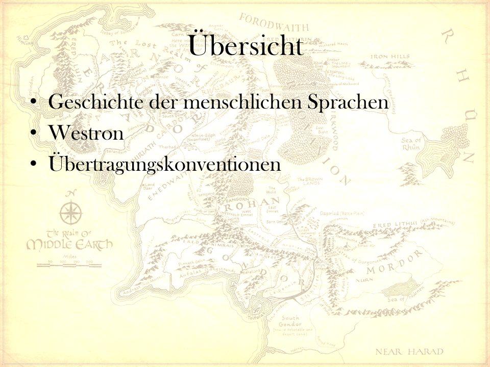 Übertragungskonventionen Interne SpracheExternes SprachäquivalentBeispiel WestronEnglischkast mathom kuduk Hobbit RohirrischAltenglischLô- Éo- kastu Schatz kûd-dûkan holbytla Quenya, SindarinLateinW.