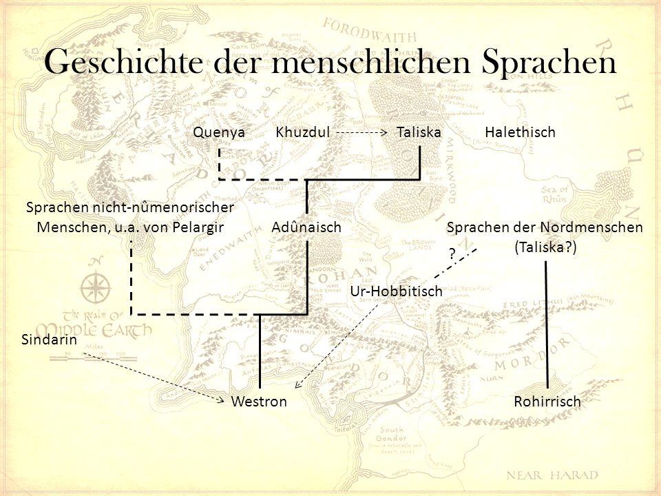 Geschichte der menschlichen Sprachen WestronRohirrisch kuduk Hobbit kûd-dûkan holbytla, hole-dweller