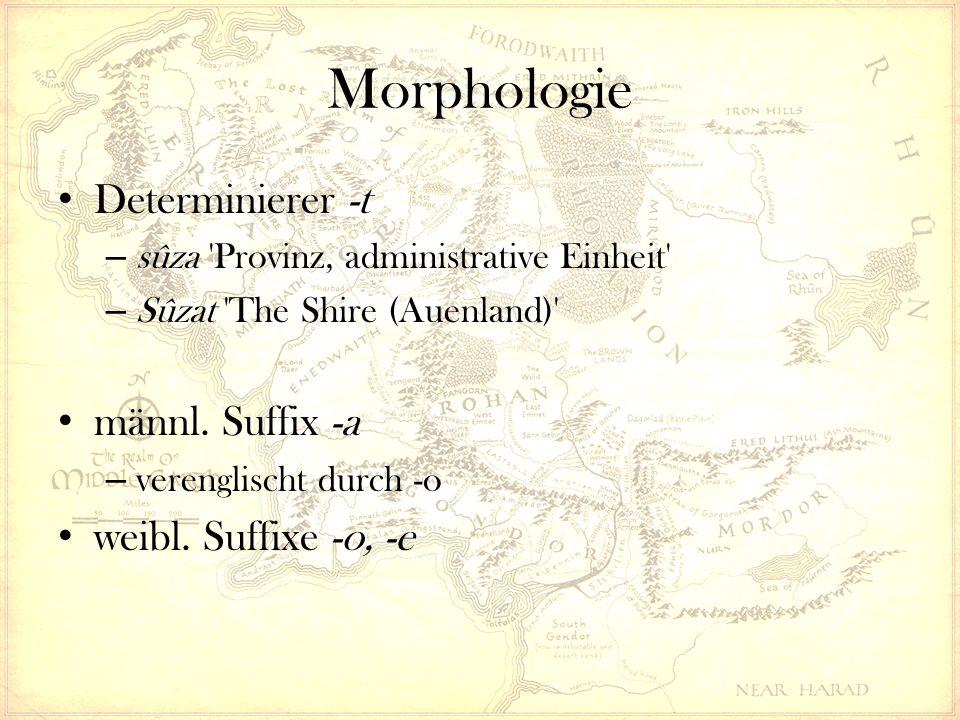 Morphologie Determinierer -t – sûza Provinz, administrative Einheit – Sûzat The Shire (Auenland) männl.