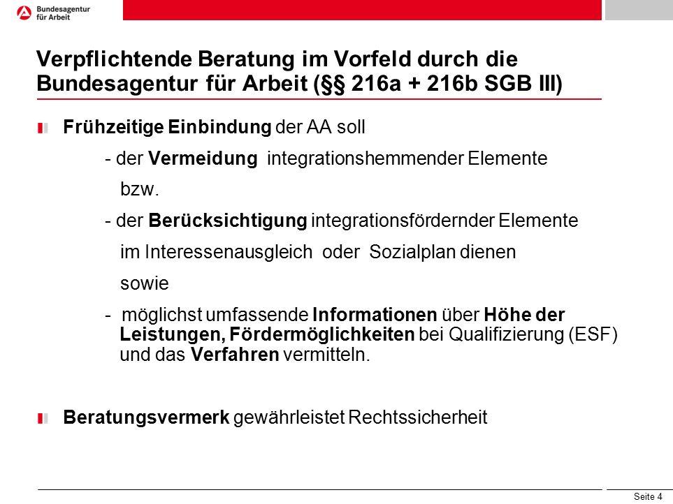 Seite 4 Verpflichtende Beratung im Vorfeld durch die Bundesagentur für Arbeit (§§ 216a + 216b SGB III) Frühzeitige Einbindung der AA soll - der Vermeidung integrationshemmender Elemente bzw.