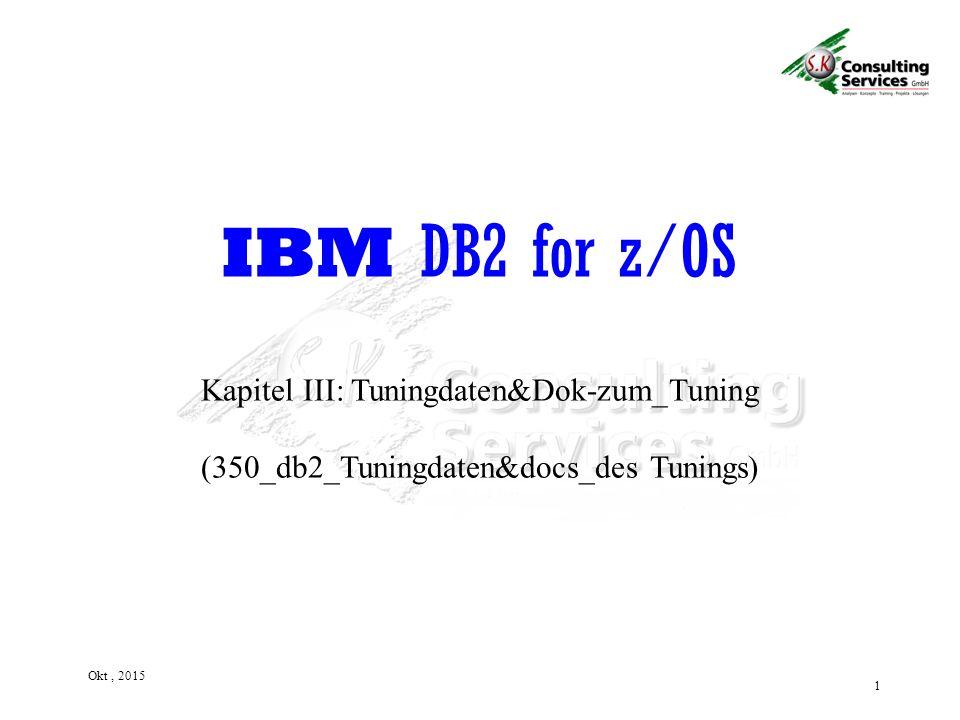 1 Okt, 2015 Kapitel III: Tuningdaten&Dok-zum_Tuning (350_db2_Tuningdaten&docs_des Tunings) IBM DB2 for z/OS