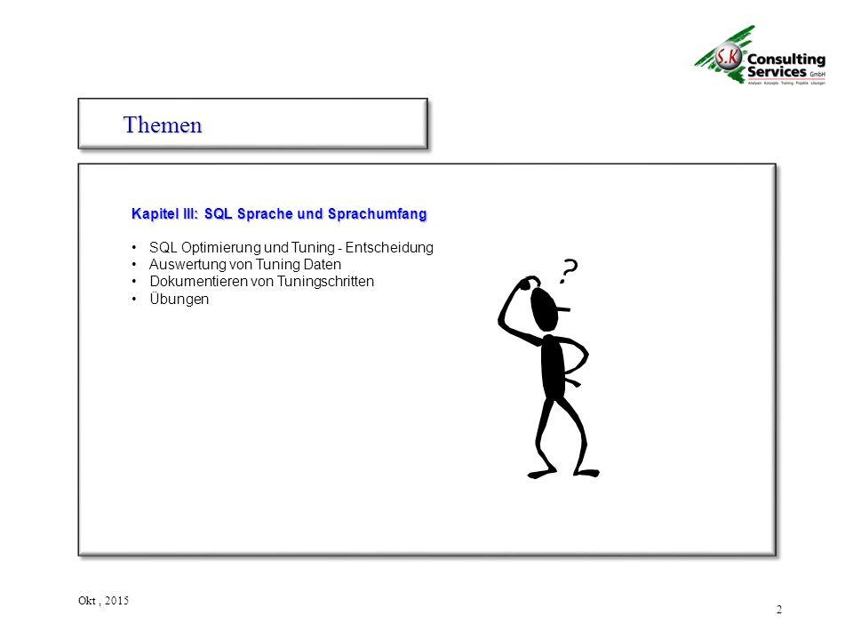 2 Okt, 2015 Kapitel III: SQL Sprache und Sprachumfang SQL Optimierung und Tuning - Entscheidung Auswertung von Tuning Daten Dokumentieren von Tuningschritten Übungen ThemenThemen