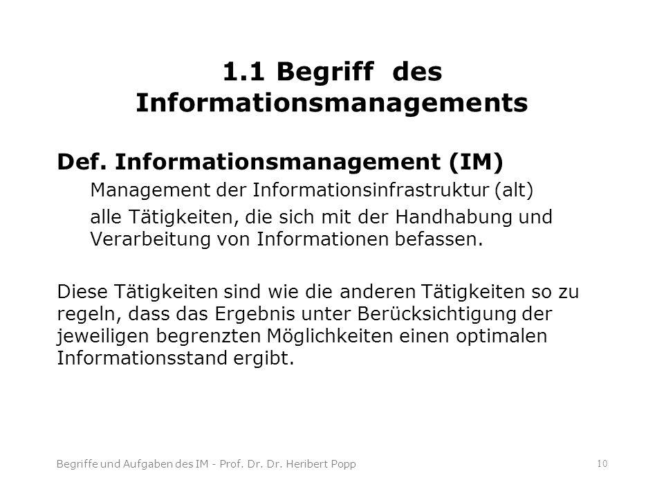 Begriffe und Aufgaben des IM - Prof. Dr. Dr.