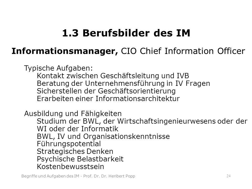 1.3 Berufsbilder des IM Begriffe und Aufgaben des IM - Prof.