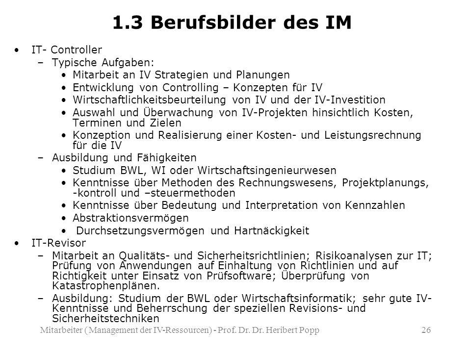 Mitarbeiter ( Management der IV-Ressourcen) - Prof.
