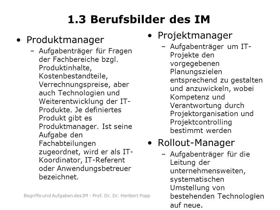Produktmanager –Aufgabenträger für Fragen der Fachbereiche bzgl.
