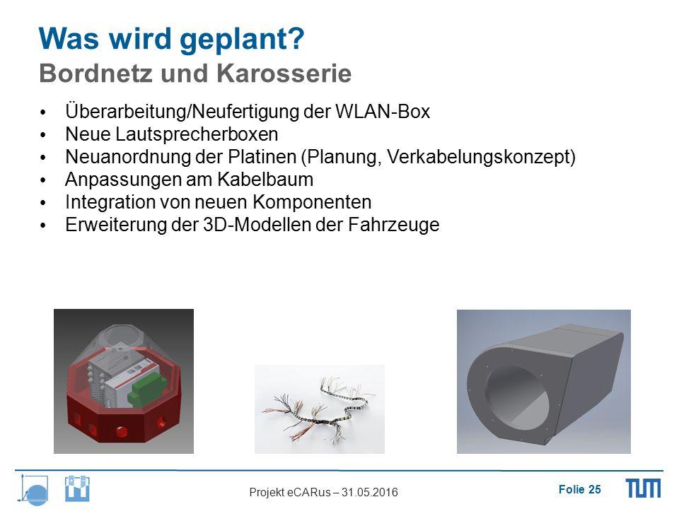 Folie 25 Projekt eCARus – 31.05.2016 Überarbeitung/Neufertigung der WLAN-Box Neue Lautsprecherboxen Neuanordnung der Platinen (Planung, Verkabelungsko
