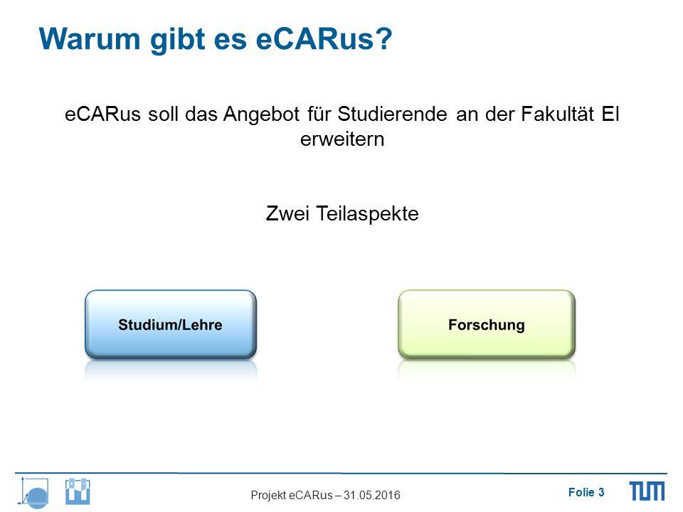 Folie 3 Projekt eCARus – 31.05.2016 eCARus soll das Angebot für Studierende an der Fakultät EI erweitern Zwei Teilaspekte Warum gibt es eCARus?