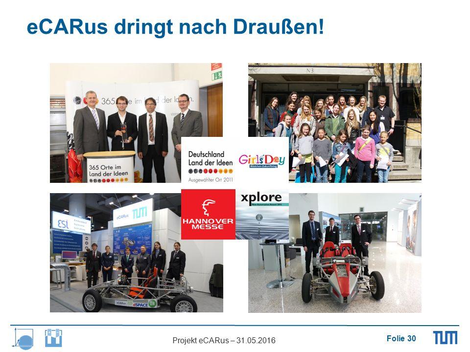 Folie 30 Projekt eCARus – 31.05.2016 eCARus dringt nach Draußen!