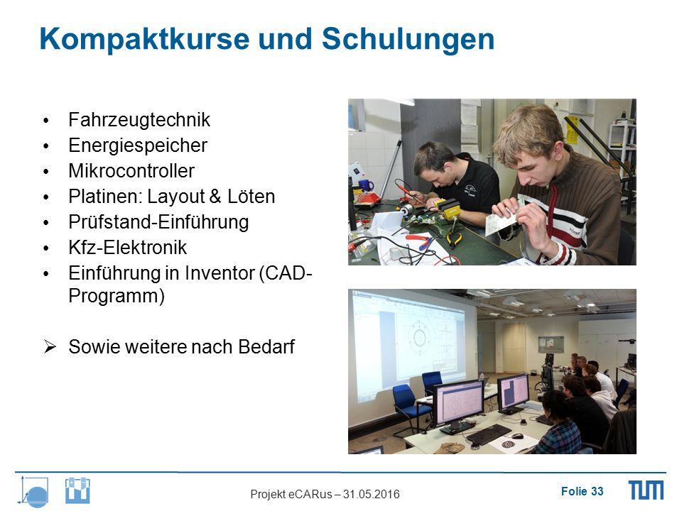 Folie 33 Projekt eCARus – 31.05.2016 Kompaktkurse und Schulungen Fahrzeugtechnik Energiespeicher Mikrocontroller Platinen: Layout & Löten Prüfstand-Ei