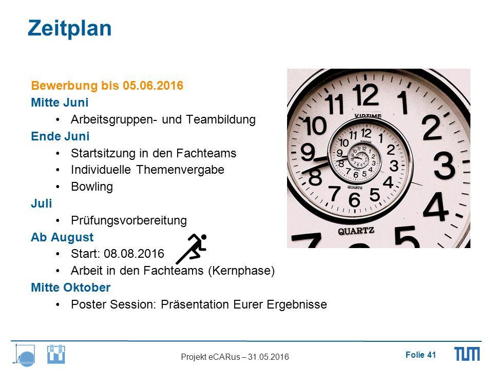 Folie 41 Projekt eCARus – 31.05.2016 Zeitplan Bewerbung bis 05.06.2016 Mitte Juni Arbeitsgruppen- und Teambildung Ende Juni Startsitzung in den Fachte